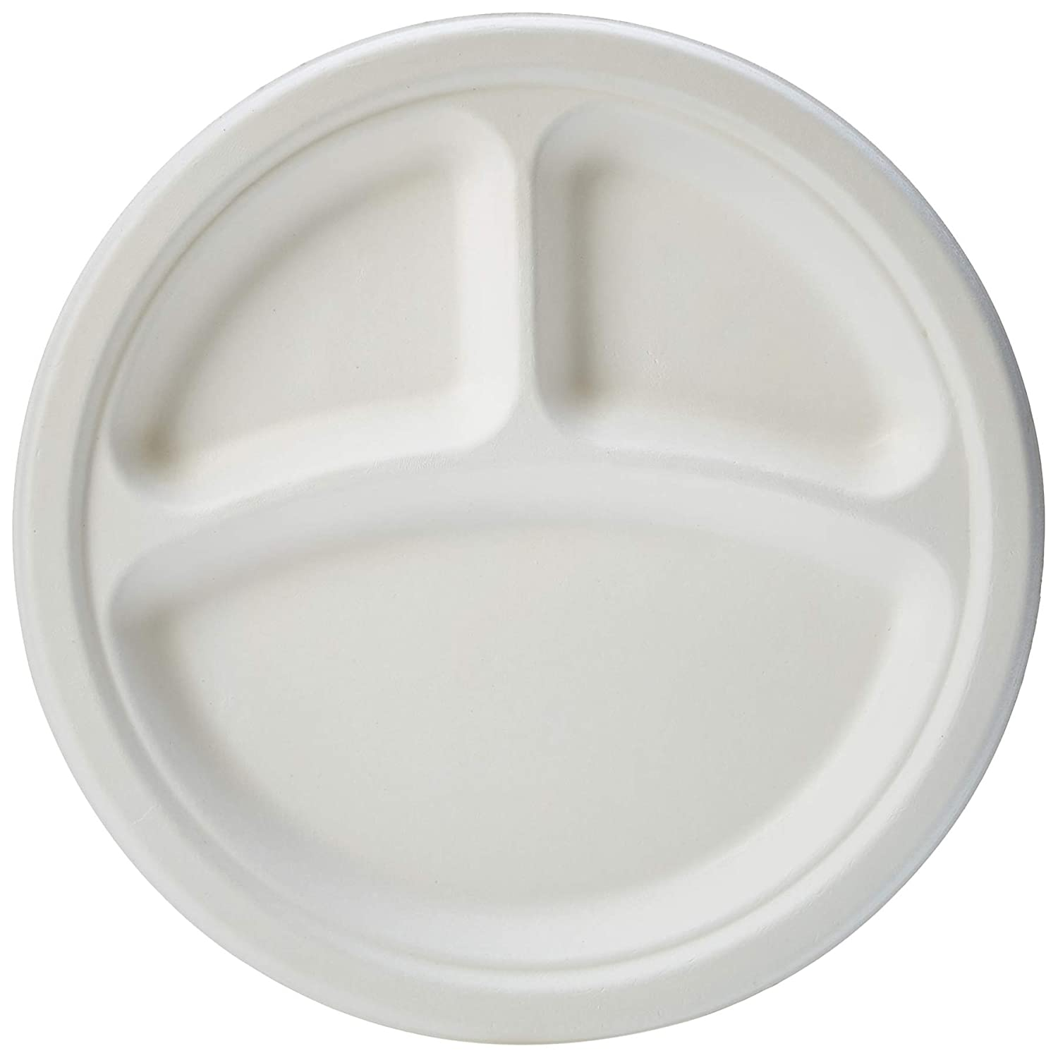 AmazonBasics Compostable Plate, 3 Compartment, 10-Inches, 500 Plates