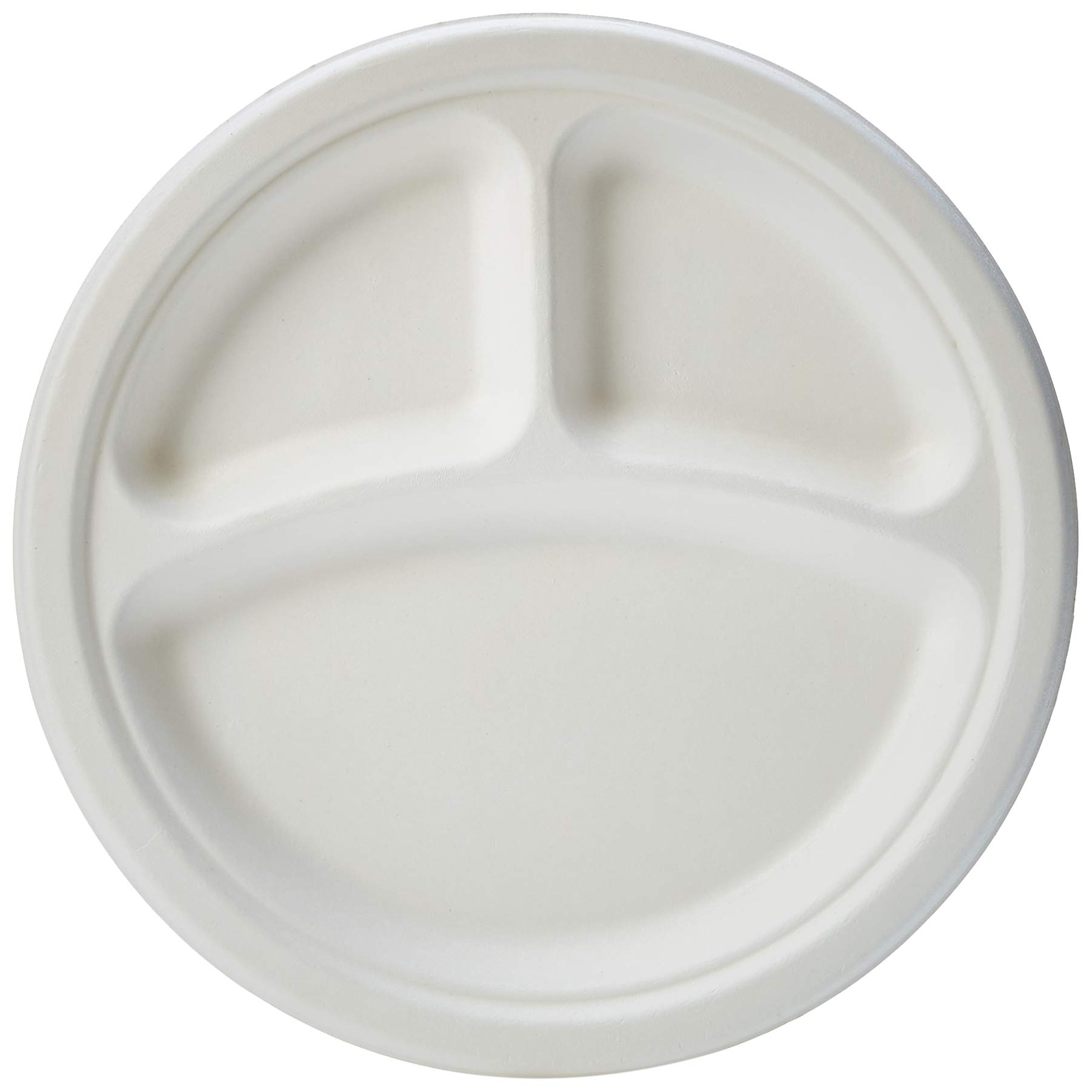 AmazonBasics Compostable Plate, 3 Compartment, 10-Inches, 500-Count