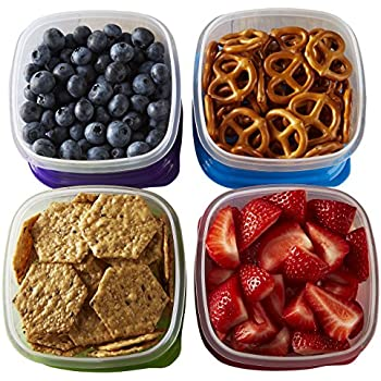 Fit & Fresh Stak Pak Portion Control 1-Cup Container Set,4 BPA-Free Reusable Food Storage Containers and Ice Packs, Healthy Lunch and Snack for School/Work