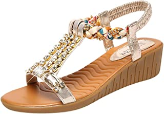 Chaussures Femme,Femmes Crystal Summer Wedges Wedges Femmes Chaussures De Plage Bohême Sandales Romaines,Chaussures de Travail
