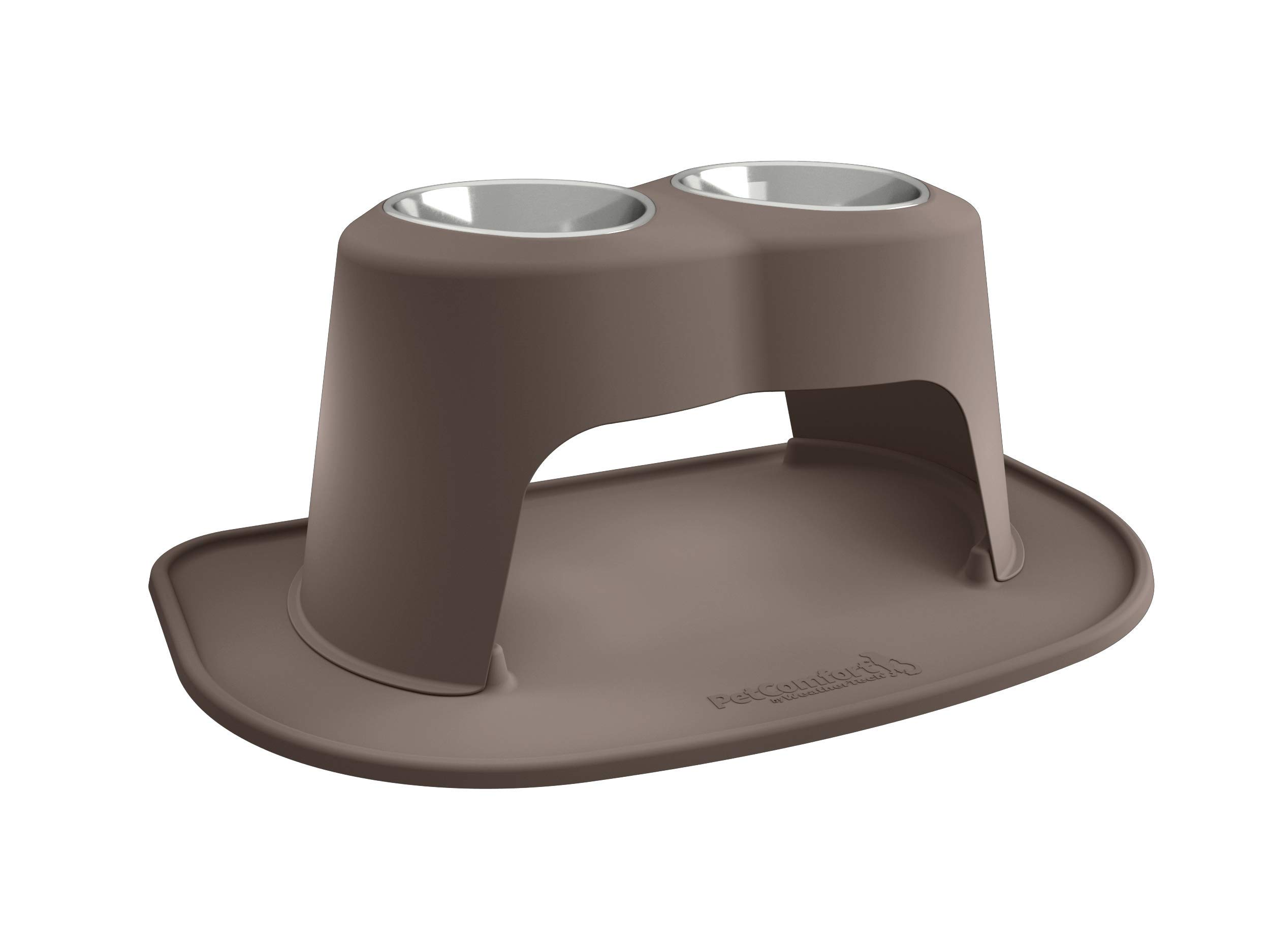 PetComfort Double High Feeding System with XL Mat (14'' Stand, Light Brown)