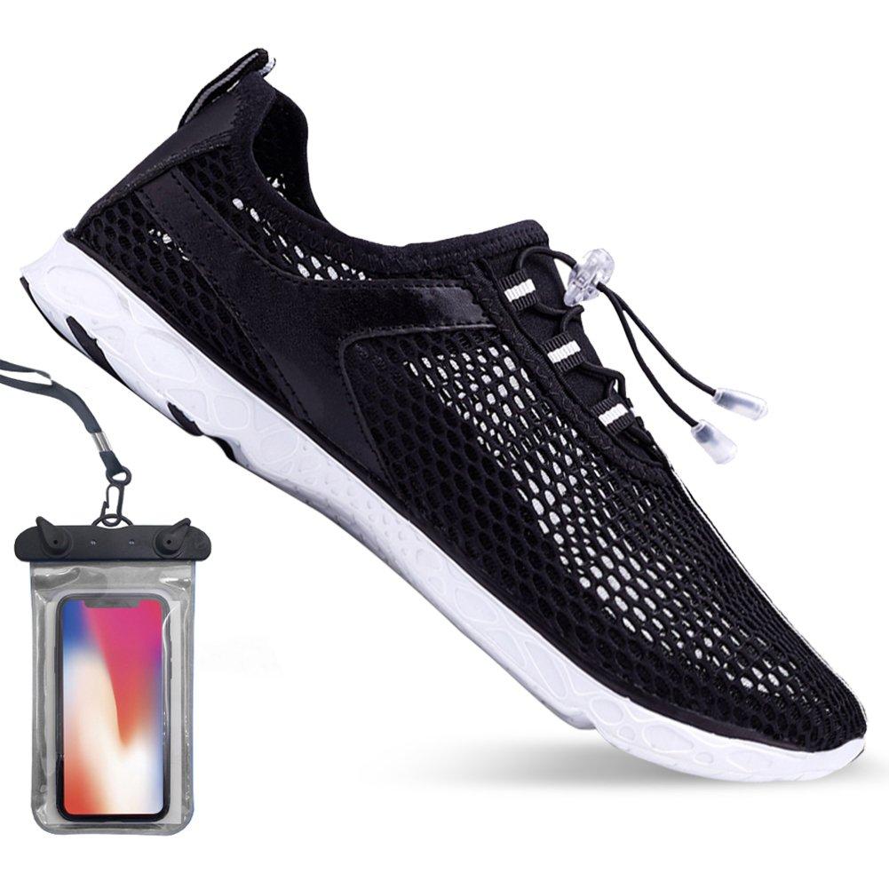 Bopika Barefoot Running Shoes Water Sports Shoes Quick-Dry Aqua Shoes for Women Men (EU39 (8.5 Women/7 Men), C-Black)