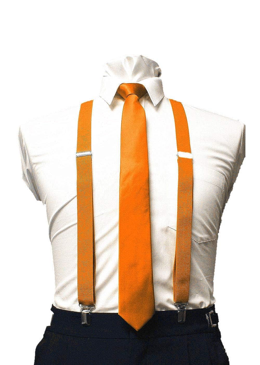 Top Mens Orange Tie skinny tie and suspenders set mens clip-on back longer necktie prom #DAAS