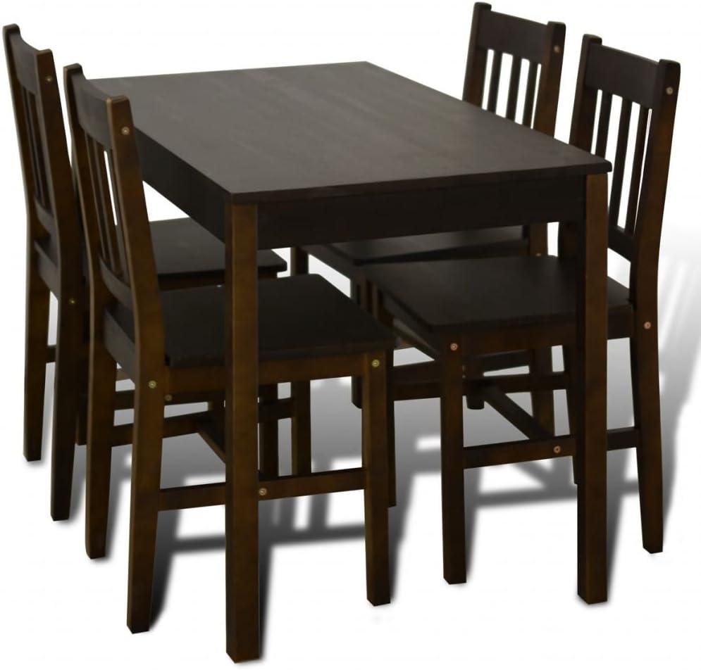 Vidaxl Set Da Pranzo In Legno Marroni Salotto Tavolo Con 4 Sedie Bar Cucina Amazon It Casa E Cucina