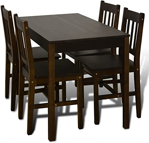 vidaXL Mesa de Comedor con 4 sillas de Madera, Color marrón ...