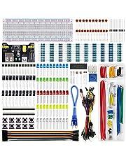 REXQualis Kit divertido de componentes electrónicos con módulo de fuente de alimentación, cable de puente, placa de pruebas de 830 puntos de unión, potenciómetro de precisión, resistencia compatible con Arduino, Raspberry Pi, STM32