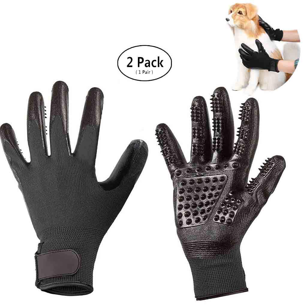 Wwjpet Pet Grooming Gloves Massage Tool Hair Remover Five Fingers Rubber for Long Short Fur Dogs Cats Furniture (1 Pair for Left and Right Hand),Black