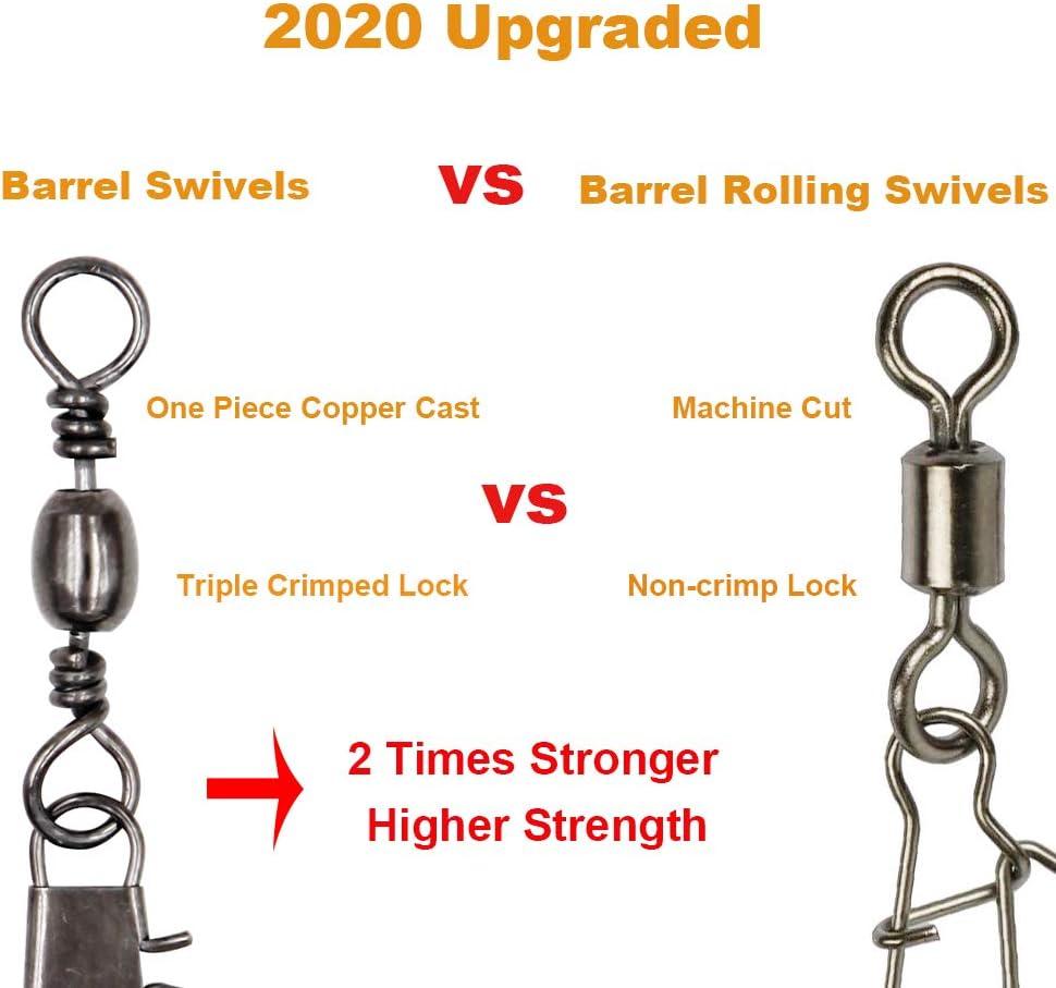50pcs Fishing Barrel Bearing Rolling Swivel Brass 8 Shape Ring Fish Line Connect