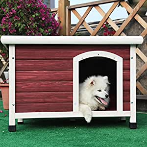 Petsfit 33.7 X 22.6 X 22.9 Inches Wooden Dog Houses, Dog House Outdoor