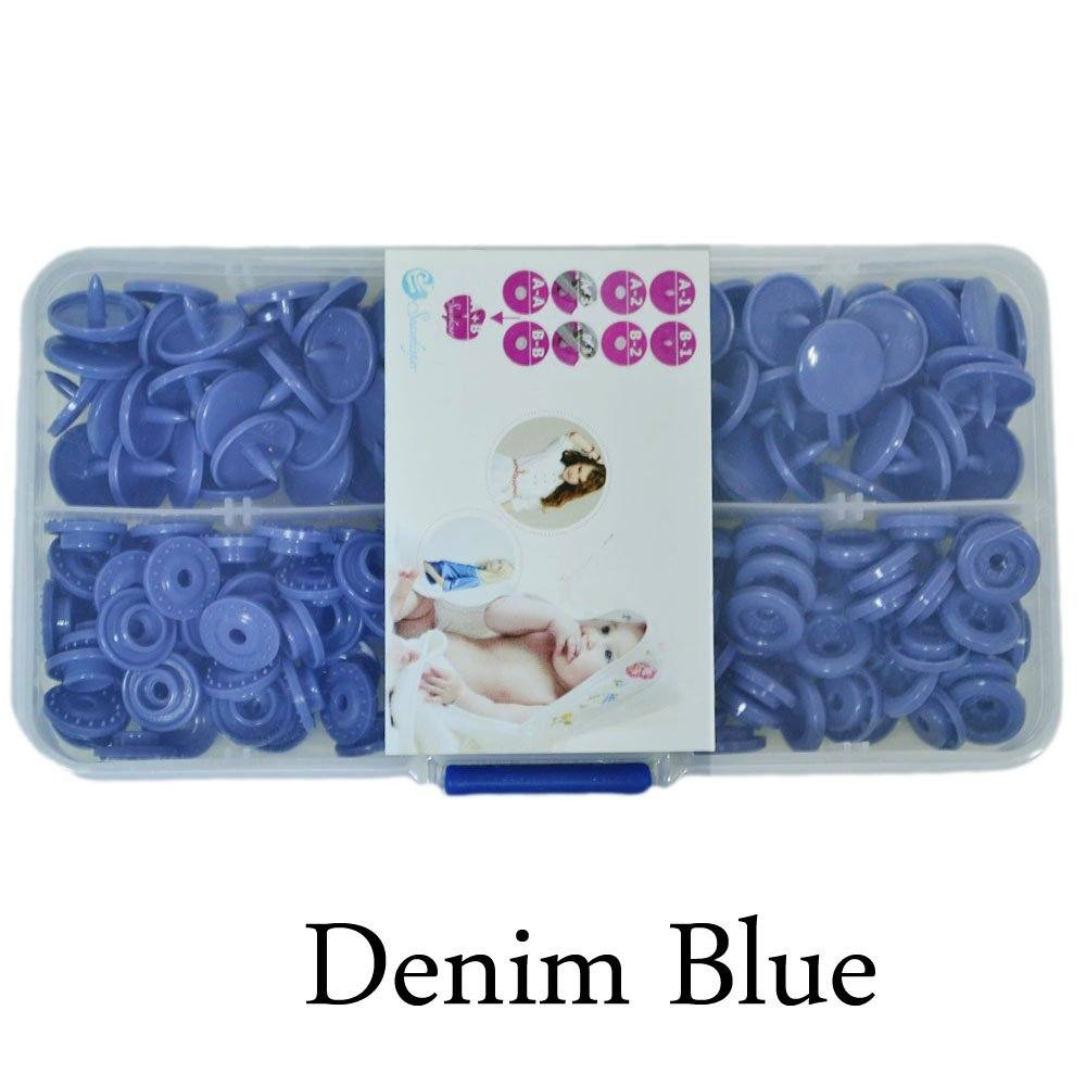 KAM Starter Pack of 50 Complete Snaps/T5 Plastic Snap Fasteners Sets for Sewing Cloth Diaper/Bibs/Unpaper Towels/Nappies/Buttons/Mama Pads - A24 Denim Blue Seawhisper