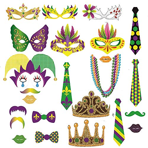 Mardi Gras Party Photo Booth Props - Masquerade Carnival Mardi Gras Party Supplies(24 -