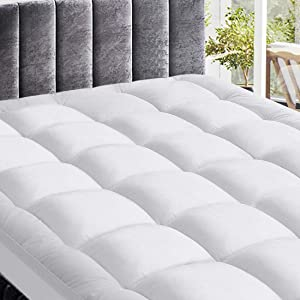 Extra Thick Queen Mattress Topper, Pillow Top Fitted Mattress Pad Cover, Down Alternative Quilted Mattress Pad with 8-21 Inch Deep Pocket