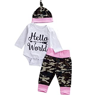 d69a6849be8 Emmababy Newborn Unisex Baby Long Sleeve Romper Camouflage Pants Outfit  with Hat Sets