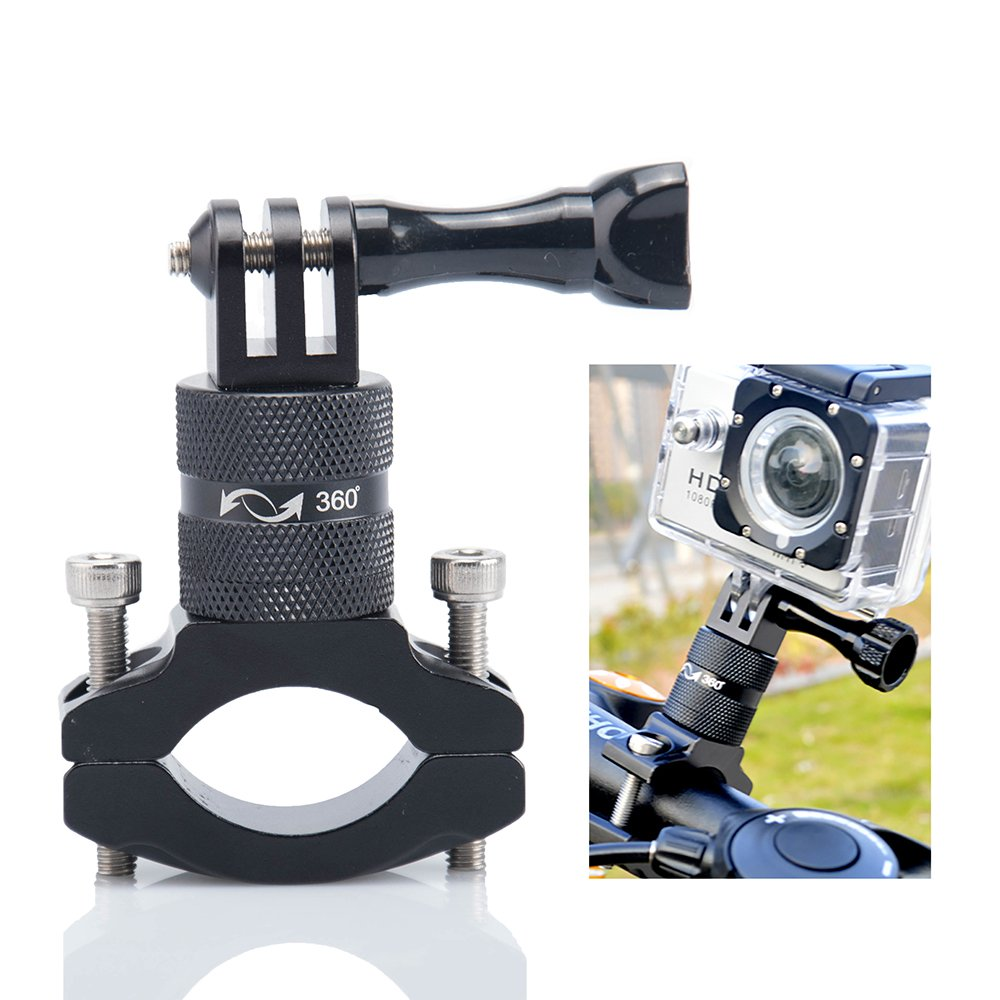 Action Camera Bike Mount, Lammcou Aluminium Bike Handlebar Mount for GoPro 360 Degree Rotary Bicycle Rack Mount Holder for GoPro Garmin Xiaomi Actioncam Mountainbike Mount