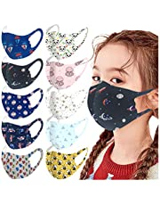 SUMSAYEI 10 Pack Kids Face_Mask Cotton Mouth Covers Washable Reusable Printed Face_Mask