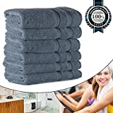 Bath Hand Towels 15.75''x31'', Luxury Hotel Quality for Salon/Spa/Bathroom, Organic Cotton Soft Thick and Fluffy 700GSM (6 Blue Set Bulk)