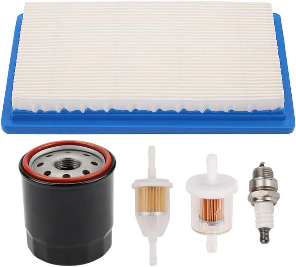 Powtol 11013-7017 Air Filter with 49065-0724 Oil Filter for Kawasaki FH381V FH430V JD LG256 X300 X300R X304 Lawn Mower