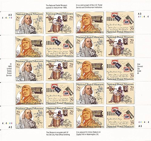 1993 National Postal Museum   Old City Post Office Building  Benjamin Franklin   Civil War   Pony Express   Air Mail  2782A Pane Of 20 X 29 Cents Us Postage Stamps