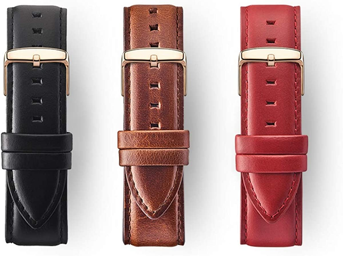 Montre-Bracelet en Cuir Brun Or Rose 13 14 Bracelet 16 12 18 20mm Bande de Montre White 1