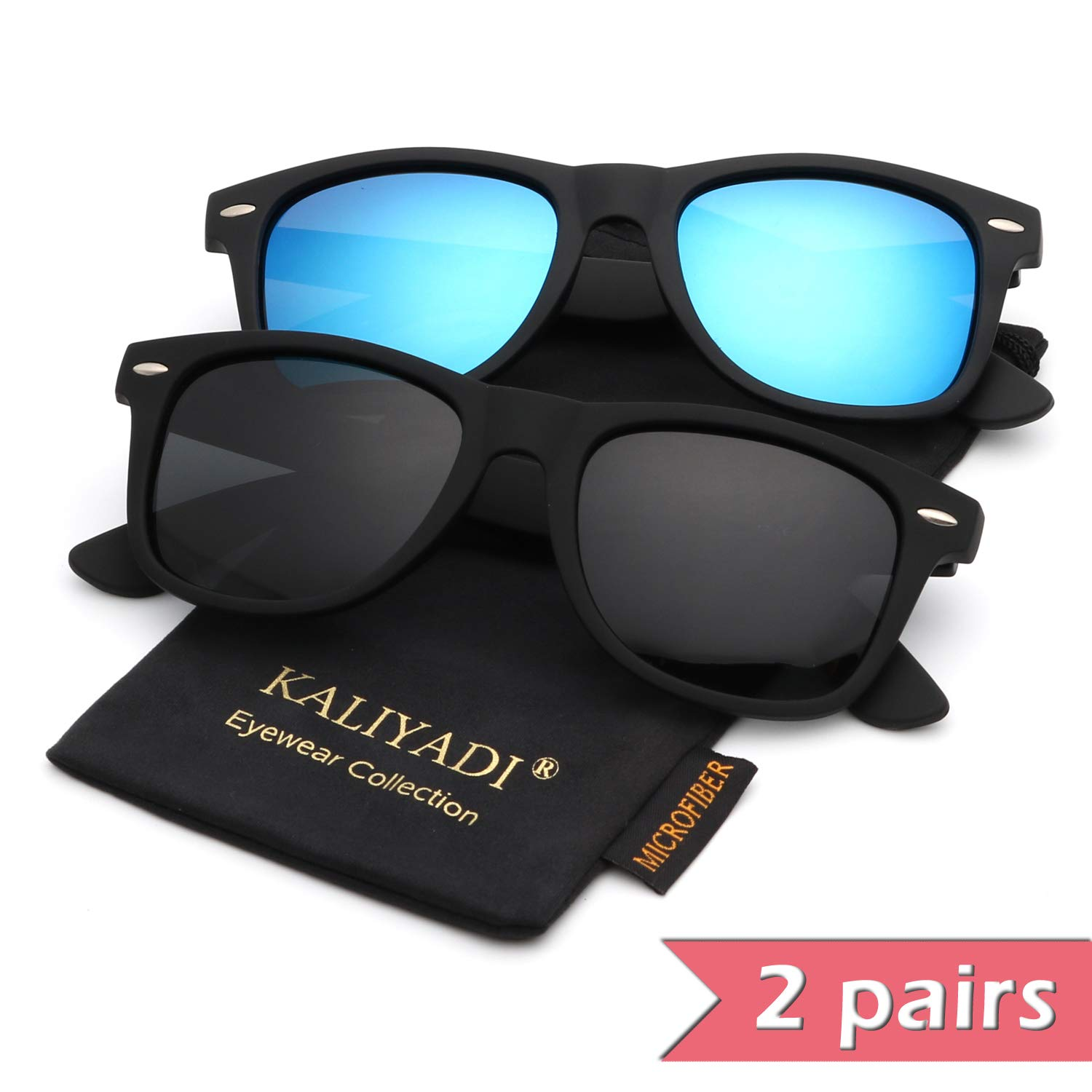 Mens Wayfarer Polarized Sunglasses Vintage Refective Mirror Lens Sun Glasses Womens:UV400 Protection (2 pairs) by KALIYADI