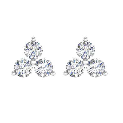Amazon.com  14k White gold 3 Stone Diamond Stud Earrings (0.42 Carat ... 00f5c62645aa
