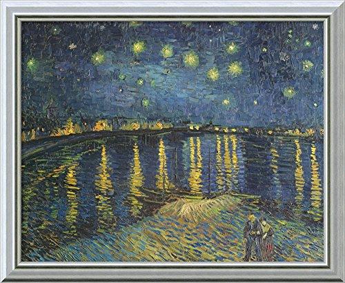 Framed Rhone Art (Canvas Art Framed 'Starry Night Over The Rhone, 1888' by Vincent Van Gogh)