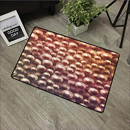 Bathroom Anti-Slip Door mat W35 x L47 INCH Pearls,Various Size Mixed Rare Nacreous Pearls Gemstone Oyster Concept Yellow Ombre Pattern,Brown Our Bottom is Non-Slip and Will not let The Baby Slip,Door (Oyster Mop)