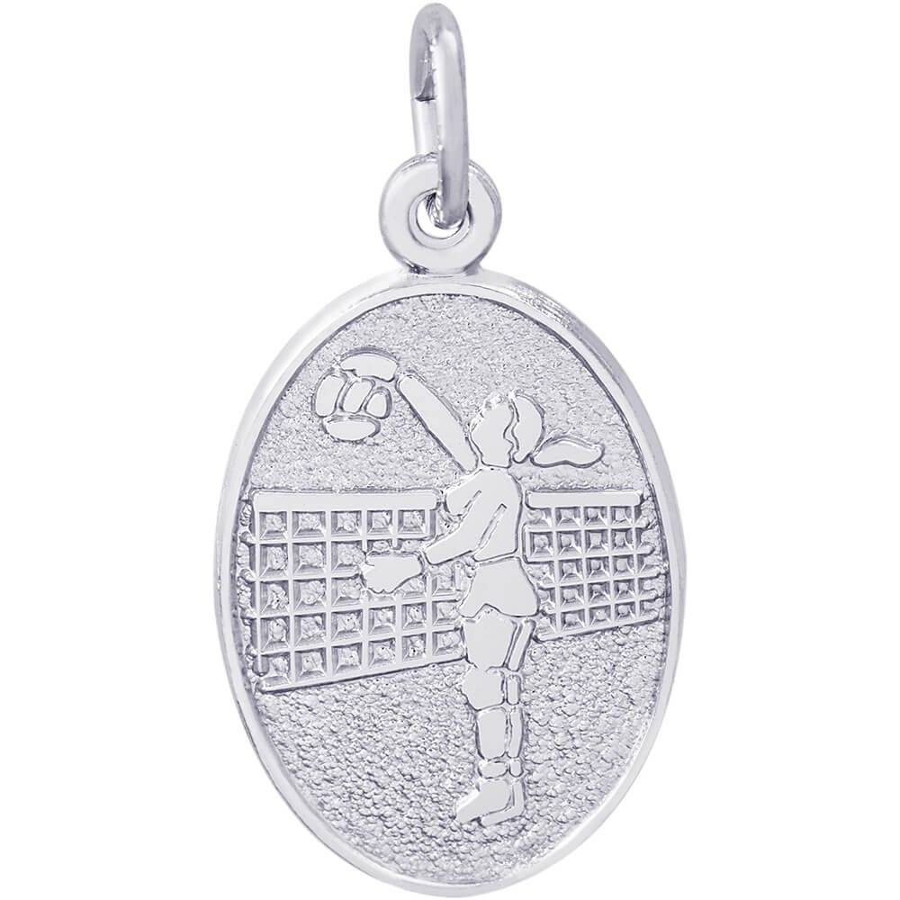 Rembrandt Charms Female Volleyball Charm, Sterling Silver