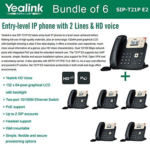 Yealink SIP-T21P E2 Bundle of 6 Entry-level IP phone 2 Lines HD voice PoE LCD