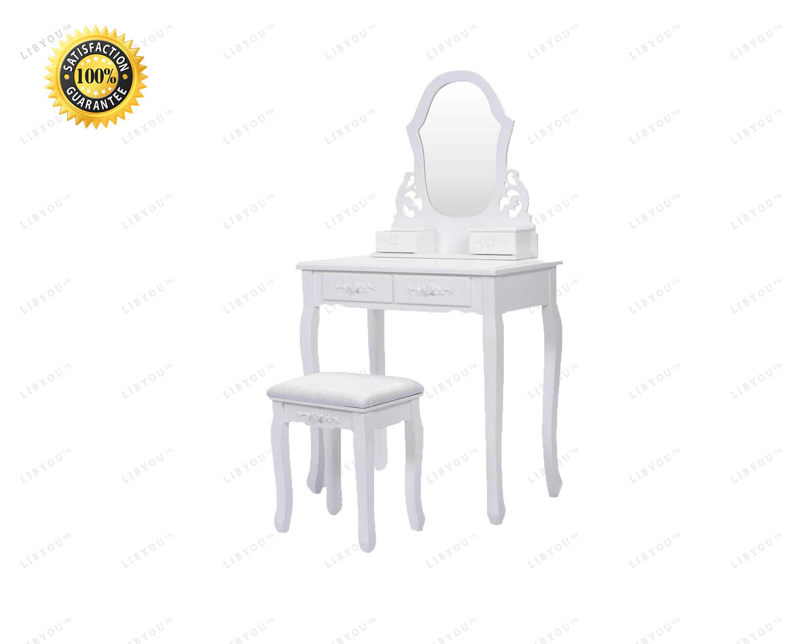 LIBYOU__Vanity Table Set,Dressing Table,Vanity Jewelry Wooden Table,Makeup Dressing Table Set,Vanity Makeup Dressing Set,Jewelry Wooden Table Stool,Jewelry Desk,Home Vanity Desk with Drawers