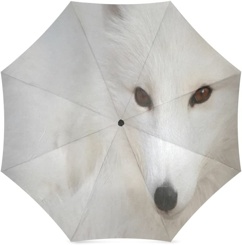 Custom Cute Arctic Fox Compact Travel Windproof Rainproof Foldable Umbrella