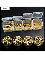 Mezerdoo Mix Size Nail Art Rose Gold Silver Caviar Beads Kit Big Gel Polish Tip 3D Round Bead Jewelry Decoration Glitter Polish 2/3/4/5mm (02 gold)