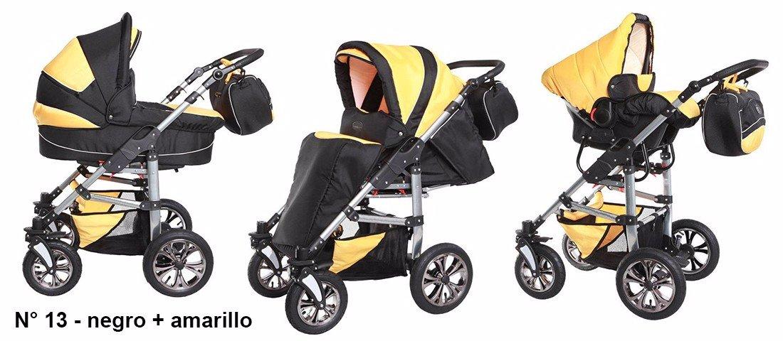 Sistema de viaje 3 en 1, Cochecito, Carrito Bebe Carlo negro-amarillo, Ganga: Amazon.es: Bebé