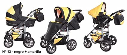Sistema de viaje 3 en 1, Cochecito, Carrito Bebe Carlo negro-amarillo,