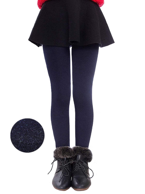 Girls Winter Warm Fleece Lined Elastic Waist Thick Leggings Velvet Stretchy Leggings Tights Pants