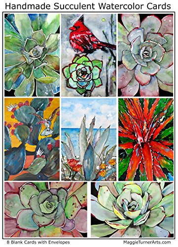 Succulent Note Cards 8 Assorted Art Greeting Cards Handmade. Blank. Boxed