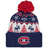 NHL Montreal Canadiens Reindeer Cuffed Pom Knit, One Size, Navy