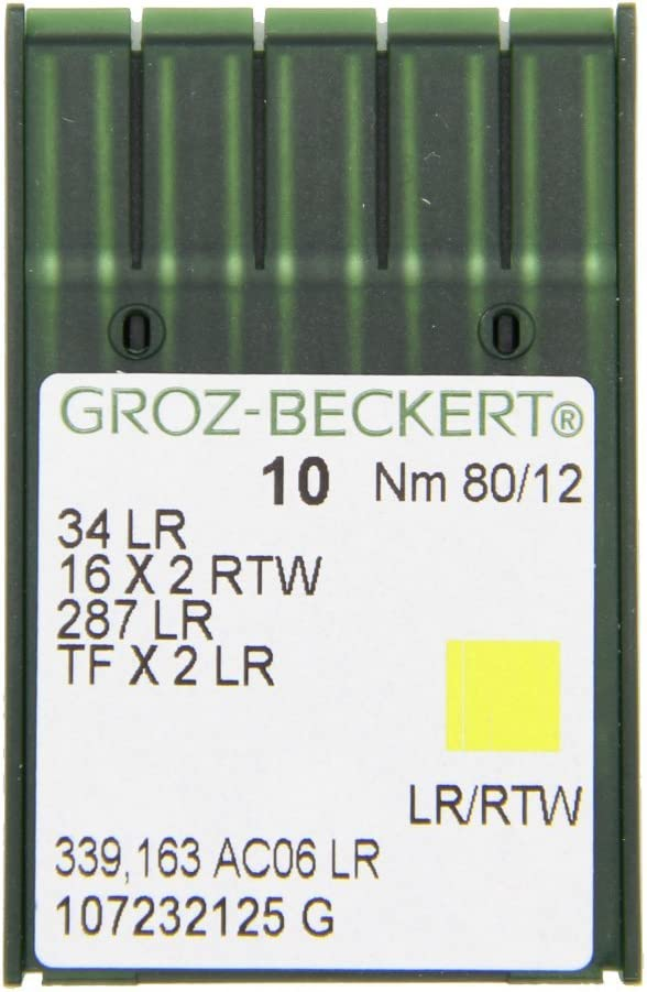 80//12 con pistone rotondo e punta da taglio confezione da 10 pezzi per macchine da cucire industriali aghi da cucito per la pelle Groz Beckert 34 LR Nm