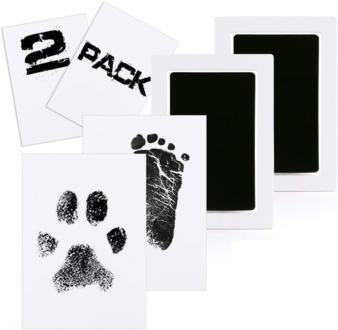 Weskimed Tinta Libre De Lío Kit De Huellas Y Huellas De Manos para Bebés,No Tóxico,2PCS Kits De Tinta De Impresión De Pata No Tóxicos Y Seguros para Bebés Y Mascotas