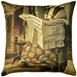 ADORABELLA Pantomime Animals Collection - Soft Touch Velvet Printed Pillow - Evening 17'' x 17'' Square Throw Pillow Home Decor Scatter Cushion - Complete With Insert