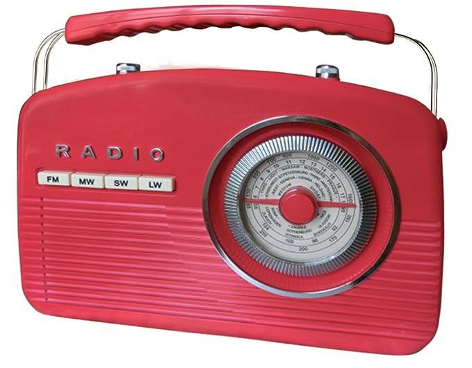 Camry CR1130R - Radio retro portátil, color rojo: Amazon.es ...