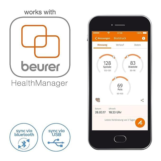 Beurer 658.03 BM 85 Digital Tensiómetro de brazo con extra grande manguito, indicador de suspensión y aplicación: Amazon.es: Salud y cuidado personal