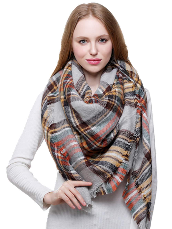 Blanket Scarf for Women Large Square Plaid Checked Tartan Pashmina Shawl Wraps (36)