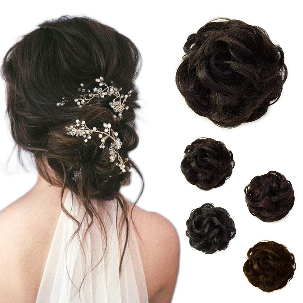 Beauty Angelbella Hair Bun Extension Synthetic Ponytail Wavy Curly Messy Hair Pieces Hairpiece for Women (2#) Shengye