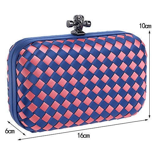 Bags made Orange Girls Flada Evening Clutch Woven Party Purse Hardcase Hand UwqFfzA