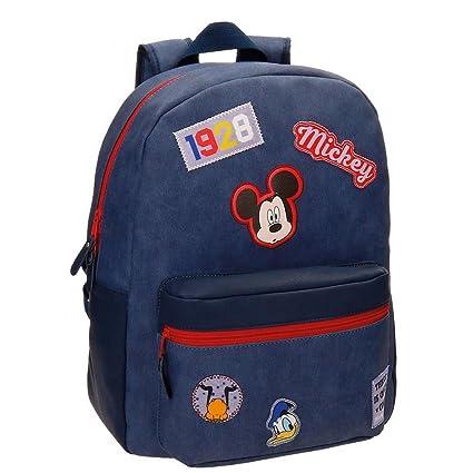 Disney 3012361 Mickey Parches Mochila Escolar, 40 cm, 19.2 litros, Azul