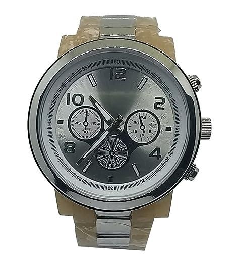 Las mujeres de acrílico hueso patrón carcasa y plateado Metal reloj: Amazon.es: Relojes