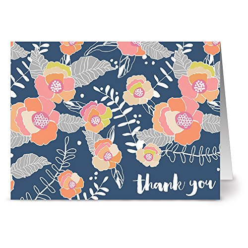 24 Thank You Note Cards - Blooms on Blue - Blank Cards - Gray Envelopes Included ()