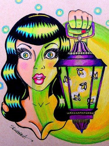 Black Market Art Miss Firefly by Skinderella Rockabilly Pin-Up Girl w Lantern Canvas Art ()