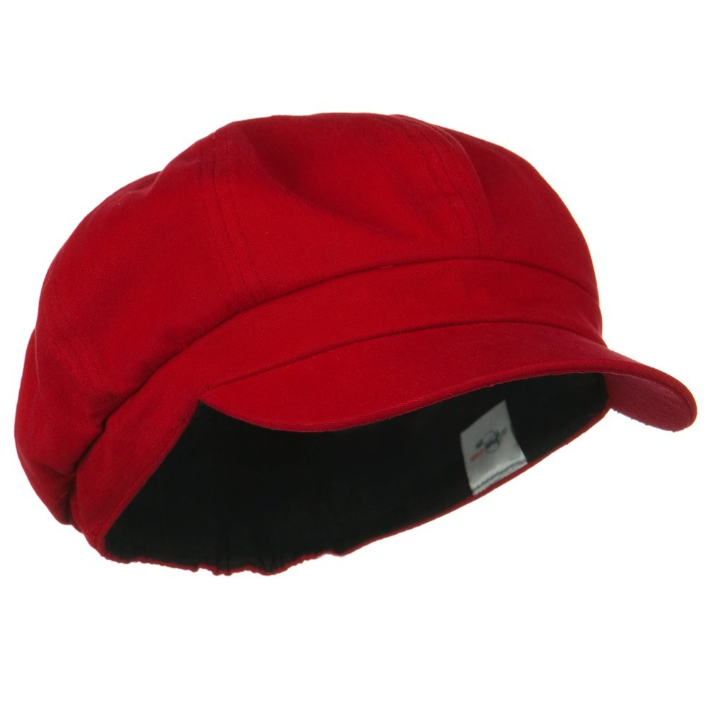 Cotton Elastic Big Size Newsboy Cap - Red 2XL-3XL by E4hats (Image #4)